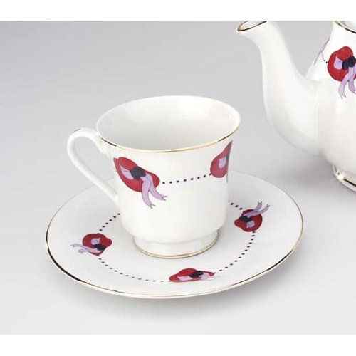 Winston Porter Keane Red Hat 12 Piece Tea Cup and Saucer Set (Set of 6) (Set of 2)