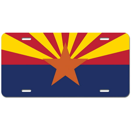 Arizona State Flag Novelty Metal Vanity License Tag (State Metal License Plate)