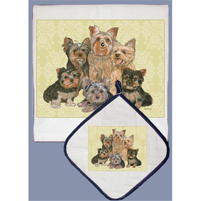Pipsqueak Productions DP544 Dish Towel and Pot Holder Set - Yorkie Family