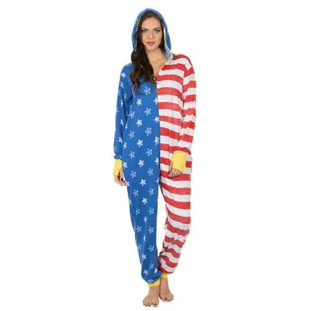 Wonder Woman American Flag Lounger Onesie Pajama, Stars Stripes, Size: 2X (Wonder Woman Onsie)