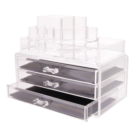 Zimtown Clear Plastic Acrylic Makeup Case Cosmetic Organizer 3 Drawers Holder Jewelry Lipstick Storage Box ()