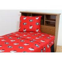 Georgia Bulldogs 100% cotton, 4 piece sheet set - flat sheet, fitted sheet, 2 pillow cases, Queen, Team Colors