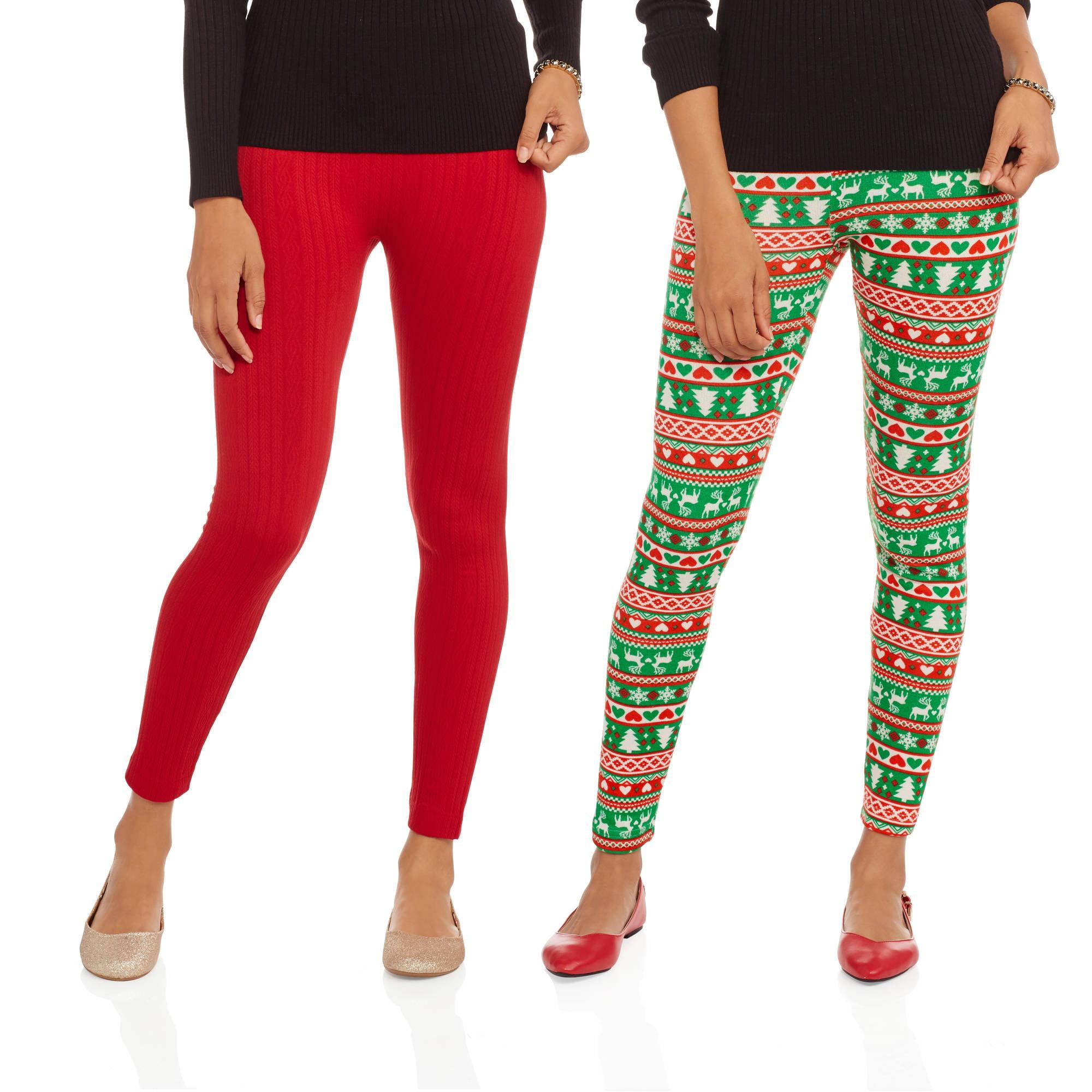 92173641ae8017 Juniors' Holiday Fleece Lined Leggings, 2-Pack – Walmart Inventory ...