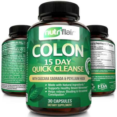 NutriFlair 15 Day Quick Colon Cleanse, 30 Capsules -  Supports Weight Loss, Flushes Out Harmful Toxins, Promotes Healthy Bowel Movement, Detox, Increased Energy Levels - Advanced Cleansing