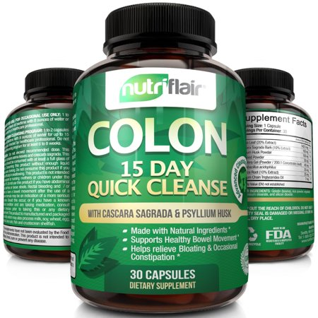 NutriFlair 15 Day Quick Colon Cleanse, 30 Capsules -  Supports Weight Loss, Flushes Out Harmful Toxins, Promotes Healthy Bowel Movement, Detox, Increased Energy Levels - Advanced Cleansing Formula