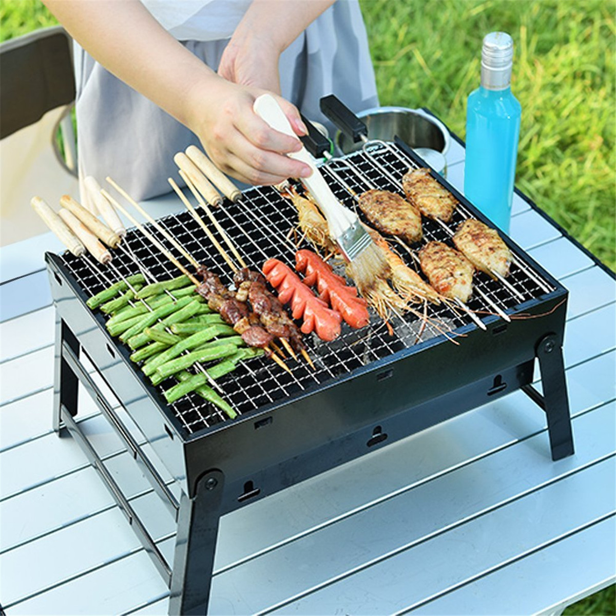 Mini Portable Folding Stainless Steel  3-5 people Notebook Charcoal Grill Barbecue Grill Camping BBQ Outdoor Cooking