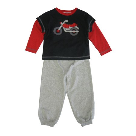 Toddler Boutiques Online (Little Me Little Boys Grey Red Motorbike Detail 2 Pc Pant Outfit)