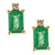 Anika and August  14k Yellow Gold Emerald-cut Zambian Emerald and Diamond Earrings