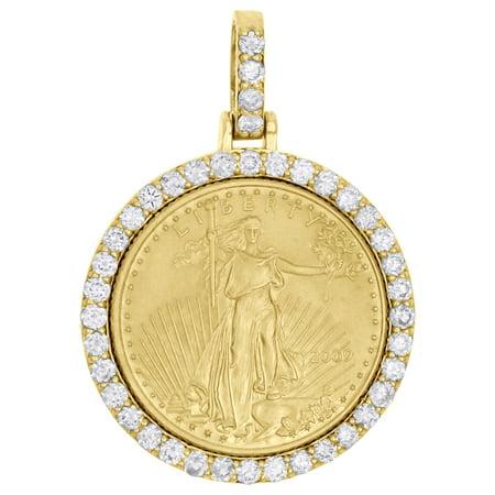 (22K Gold American Eagle Liberty Coin 1/10th Oz. Diamond Mounting Pendant 0.63 CT)