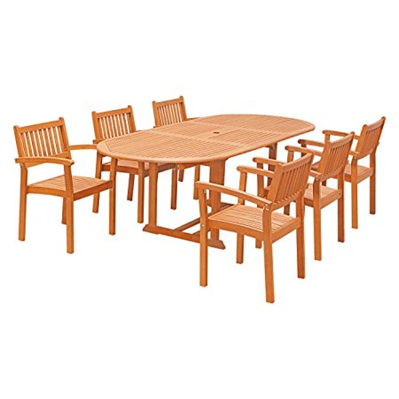 VIFAH V144SET30 7 Piece Outdoor Wood Dining Set with Oval Extension Table and Stacking (Vifah Vista 7 Piece Wood Patio Dining Set)