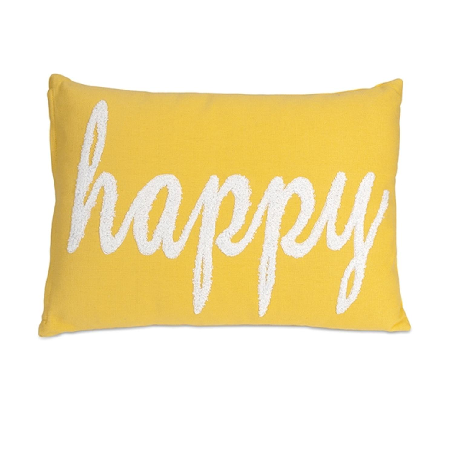 20 Embroidered Lemon Yellow And White Hy Decorative Throw Pillow