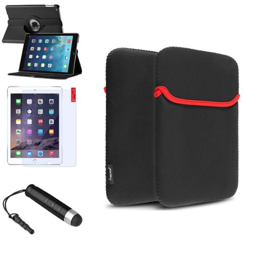 Insten Black 360 Rotating Leather Case Cover+Stylus/Pouch For Apple iPad Air 5 5th Gen