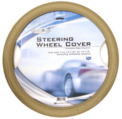 Custom Accessories 38855 Steering Wheel Cover, Tan Leatherette, One Size