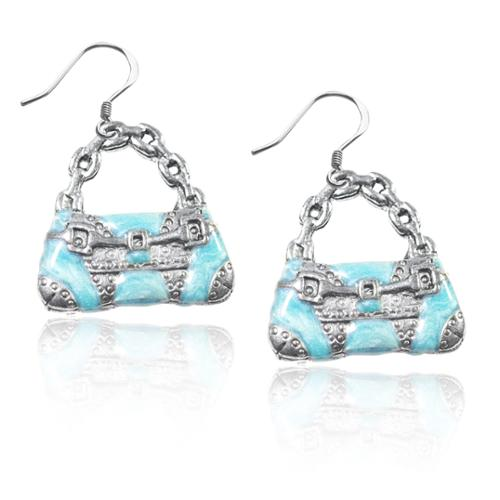 Whimsical Sterling Silver Retro Purse Charm Earrings