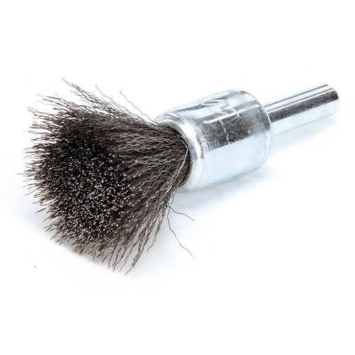 WEILER 10001 Crimped Wire End Brush, Steel, 1/2 In.