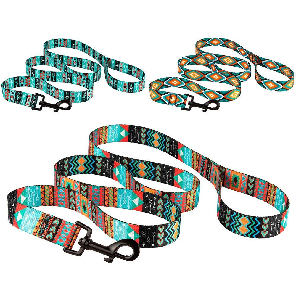 Nylon Dog Leash 5ft Training Leashes for Medium Dogs Puppy Pet Lead Tribal Design, Pattern 3