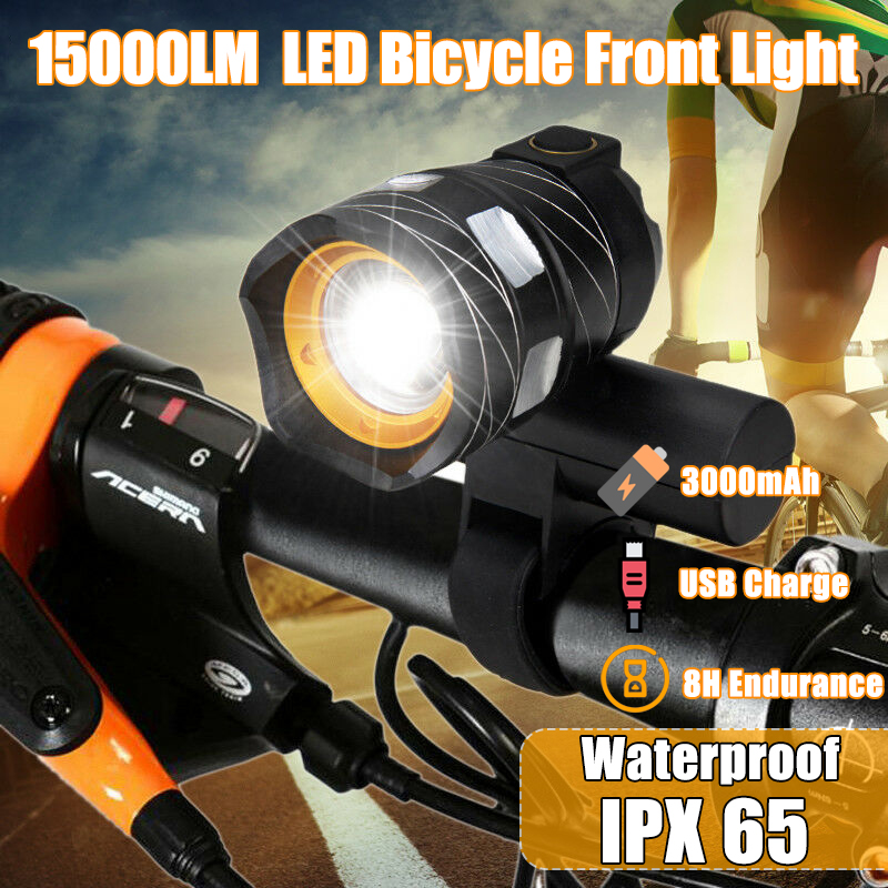US LED Bycicle Light Headlamp Headlight Bike Front Lamp Torch Waterproof Black.