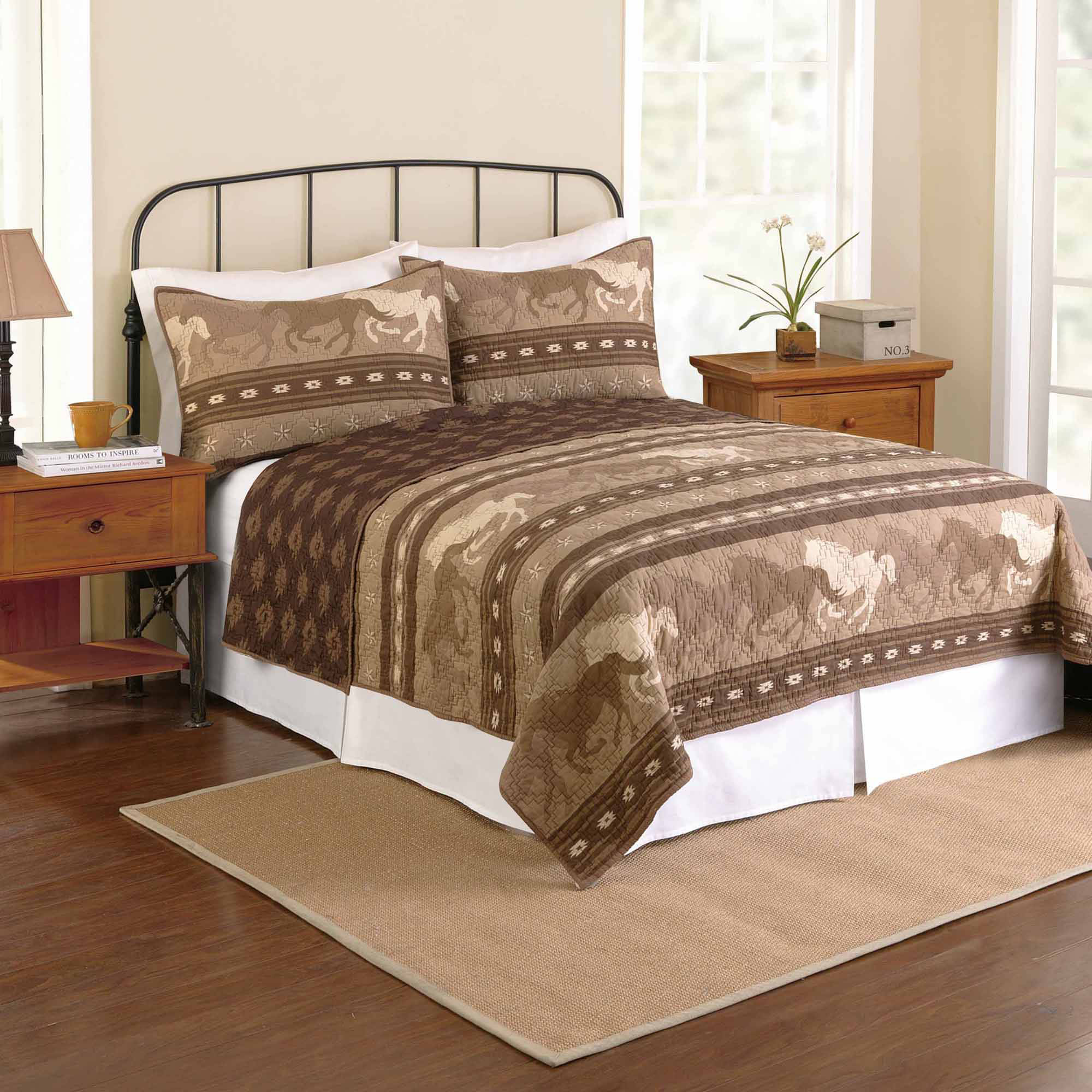 Better Homes and Gardens Texas Horse Bedding Quilt, Brown - Walmart.com