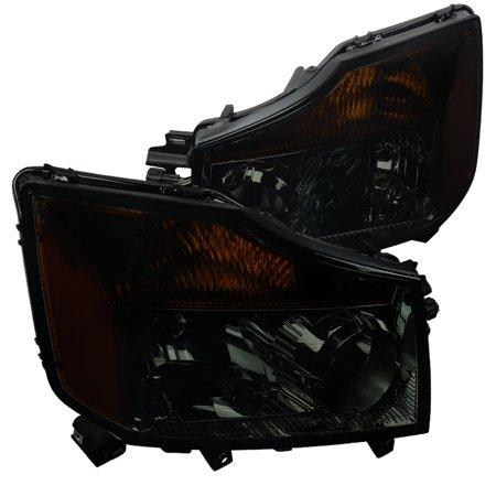 Spec-D Tuning For 2004-2015 Nissan Titan 2004-2007 Armada Pickup Smoke Lens Headlights Amber 2004 2005 2006 2007 2008 2009 2010 2011 2012 2013 2014 2015 (Left + Right) - Nissan Titan Armada Headlamp Headlight