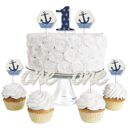 1st Birthday Ahoy - Nautical - Dessert Cupcake Toppers - First Birthday Party Clear Treat Picks - Set of - Nautical Cakes