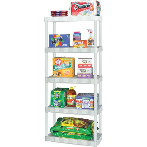 Plano 5-Tier Heavy-Duty Plastic Storage Unit, White