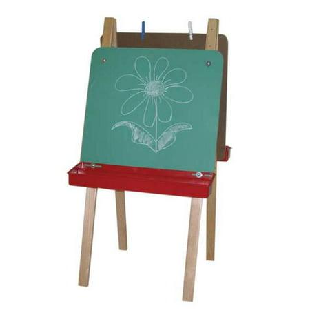Wood Designs 18900BN Double Adjustable Easel w - Chalkboard & Brown Trays Double Chalkboard Easel