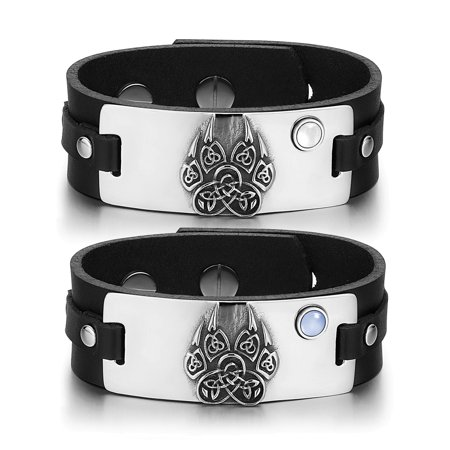 White Knotted Leather - Aztecs Celtic Knots Wolf Paw Amulets Love Couples White Blue Simulated Cats Eye Black Leather Bracelets