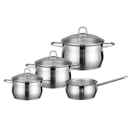 ELO Cookware Platin Stainless Steel Kitchen Induction Cookware Pots and Pans Set with Shock Resistant Glass Lids, 7-Piece