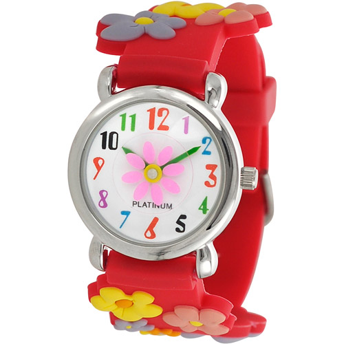 Brinley Co. Girls' Flower Design Watch, Silicone Strap