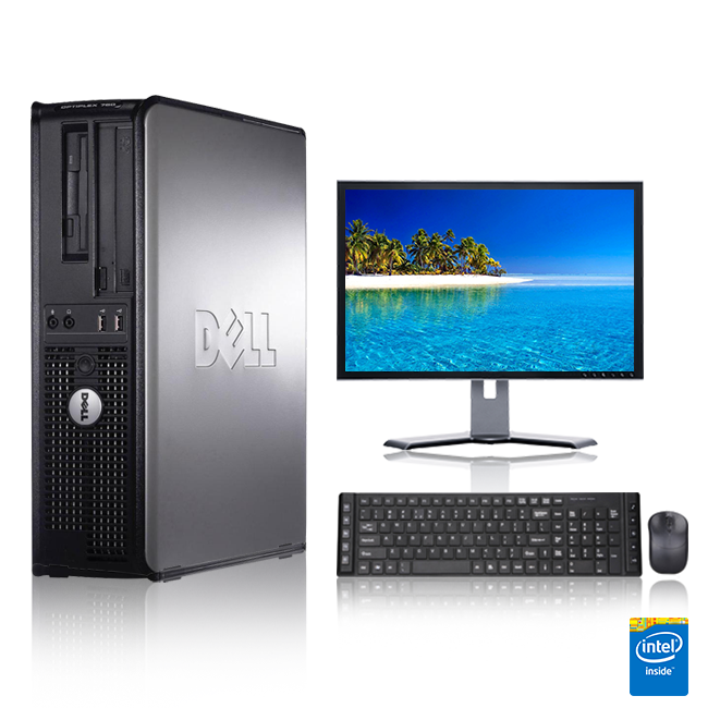 "Dell Optiplex Desktop Computer 2.8 GHz Core 2 Duo Tower PC, 4GB, 500 GB HDD, Windows 10 Home x64, 17"" Monitor , USB Mouse & Keyboard (Refurbished)"