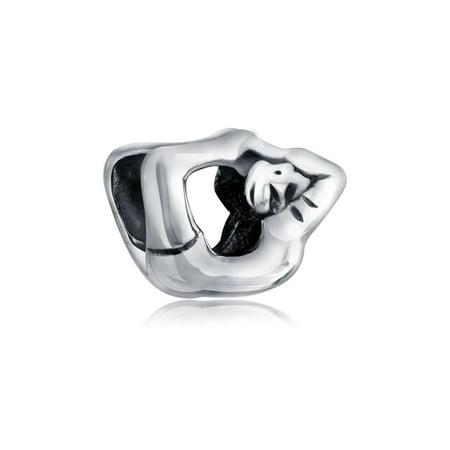 Yoga Yogi Bow Pose Bead Charm 925 Sterling Silver (Yoga Charms)