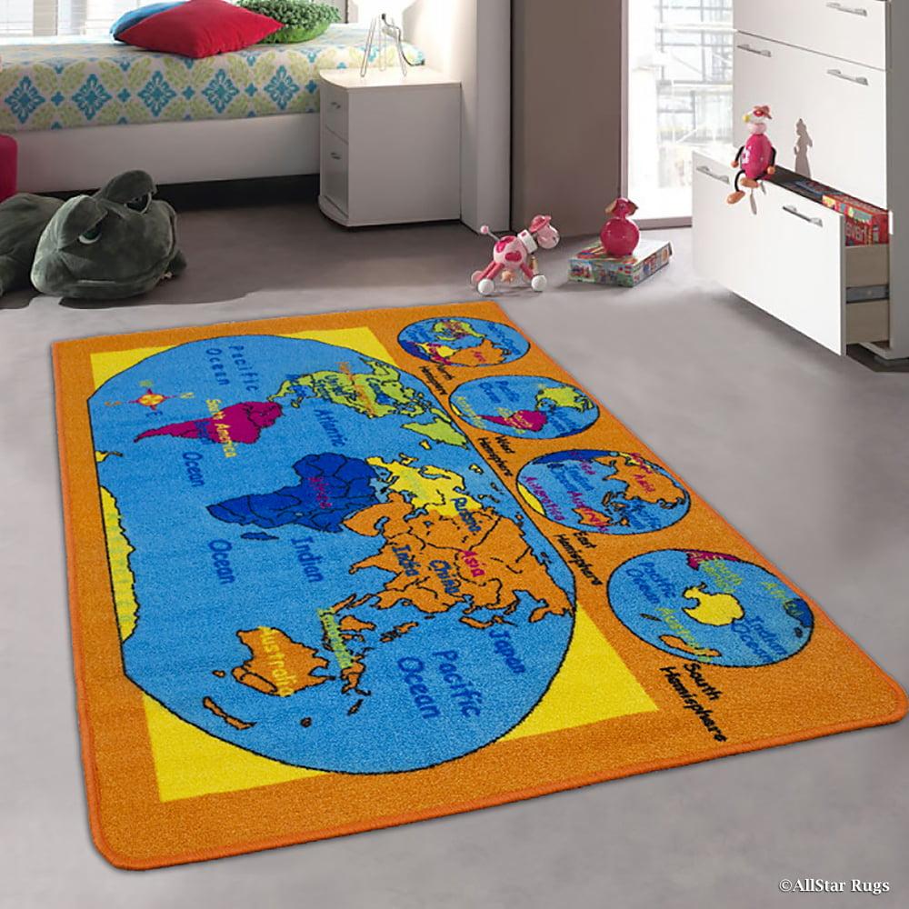 Allstar Kids Baby Room Area Rug World Map Usa Map Ocean Continents Bright Colorful Vibrant Colors 3 3 X 4 10 Walmart Com Walmart Com