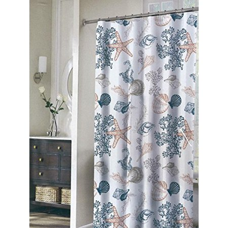 Coastal Collection By Stylehouse Fabric Shower Curtain And Chrome Hook Set 13 Piece