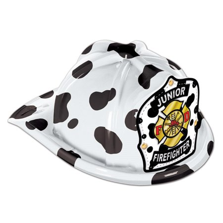 Club Pack of 48 Black and White Dalmatian Print Junior Firefighter Hat Costume Accessories