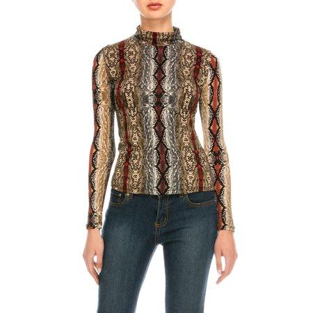 Dkny Animal Print - Missfit Womne's Snake Animal All Over Print Mock Neck Long Sleeve Blouse Top Tee Red/Multi Small