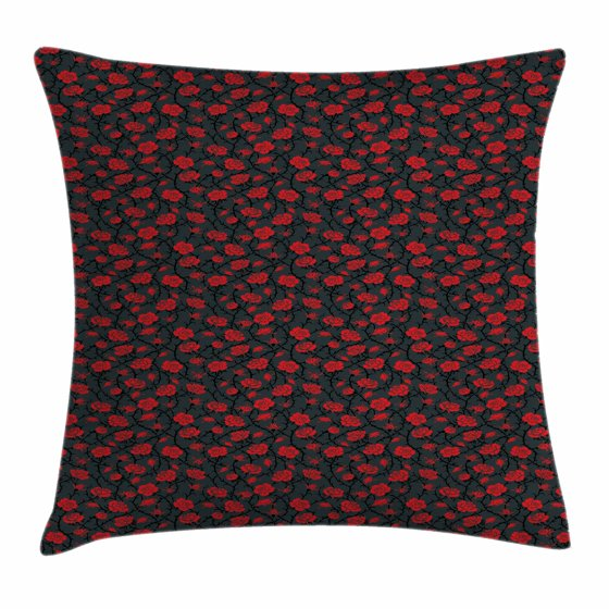 Victorian Outdoor Pillows : Red and Black Throw Pillow Cushion Cover, Romantic Vintage Roses Illustration Old Fashioned ...