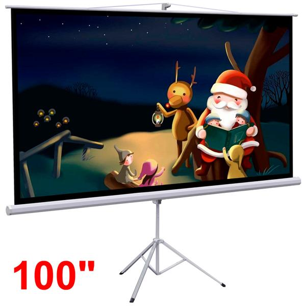 """Yaheetech 100"""" Projector 16:9 Projection Screen HD Adjustable Tripod Manual Pull-down 87"""" x 49"""" Portable Foldable Stand"""