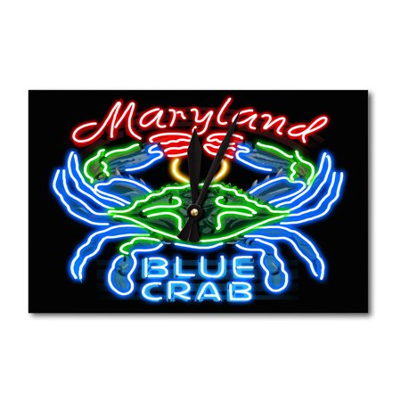 Maryland - Blue Crab Neon Sign - Lantern Press Poster (Acrylic Wall Clock)