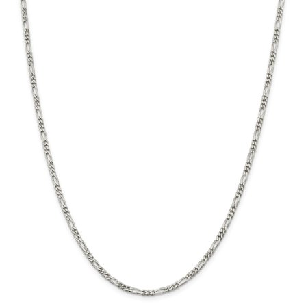 """925 Sterling Silver 3mm Figaro Necklace Chain -18"""" (18in x 3mm)"""