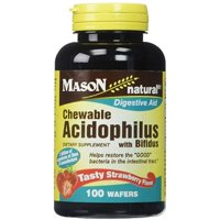 6 Pack - Mason Natural Chewable Acidophilus with Bifidus Wafers Strawberry, 100 ea