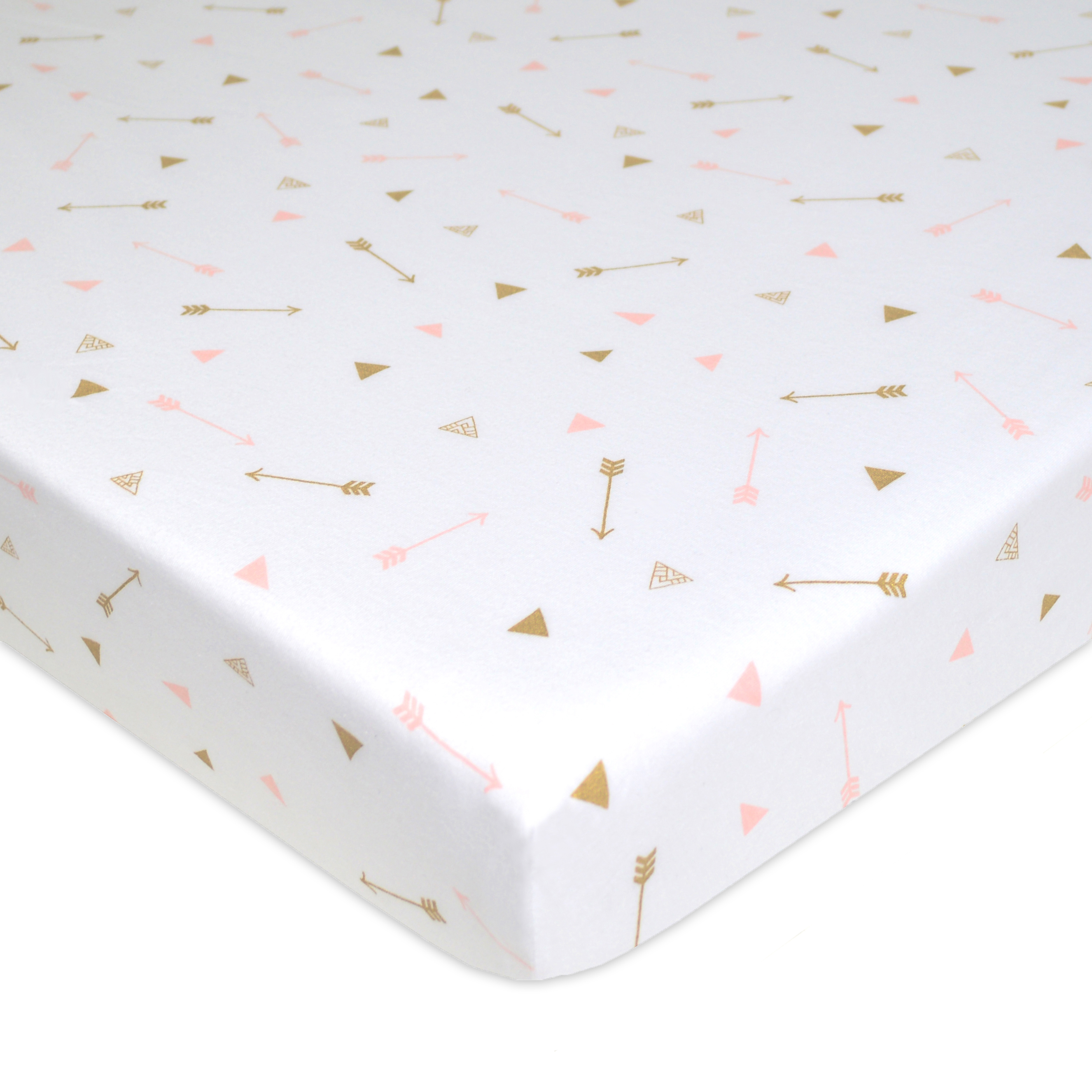 American Baby Company 100% Cotton Jersey Fitted Playard Sheet, Sparkle Gold and Pink Arrows