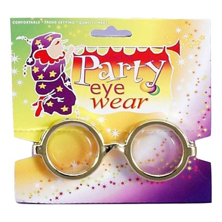 50's Nerd Dork Geek Gold Steampunk Round Glasses Halloween Costume Accessory (Halloween Nerd Costume Accessories)