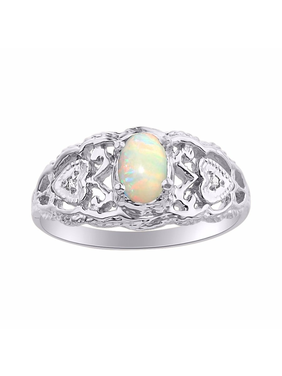 Diamond & Opal Ring Set In Sterling Silver Designer Hearts by
