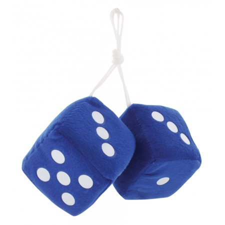"3"" Fuzzy Dice Blue with White Dots"