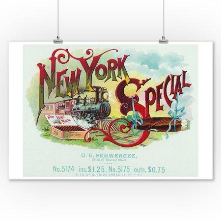 New York Special Brand Cigar Box Label (9x12 Art Print, Wall Decor Travel Poster)