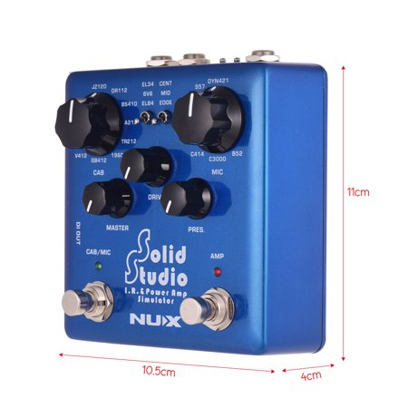 NUX Solid Studio IR & Power Amp Simulator Guitar Effect Dual Footswitch  Built-in 8 Cabinet 8 Microphone 3 Power Amp Tube Simulations True Bypass