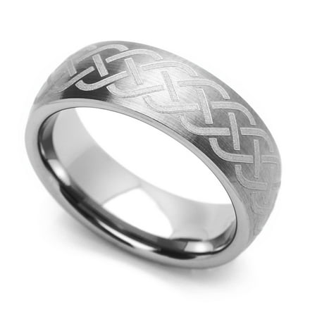 Women's 7MM Comfort Fit Tungsten Carbide Wedding Band Celtic Knot Engraved Domed Ring (7 to 14), 8.5 ()