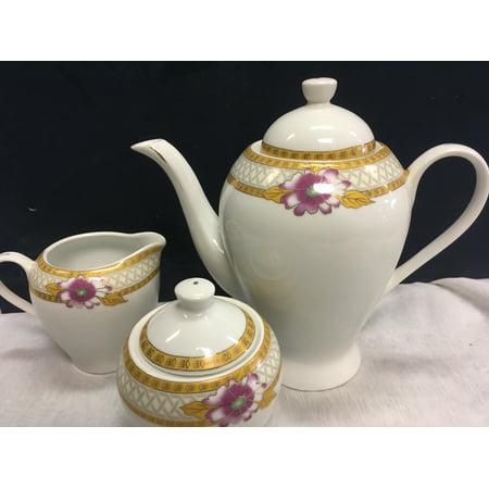 Fine Porcelain Royal Rose 15pc  Breakfast Tea Service with 6 Cups + (Fine Porcelain Saucer)