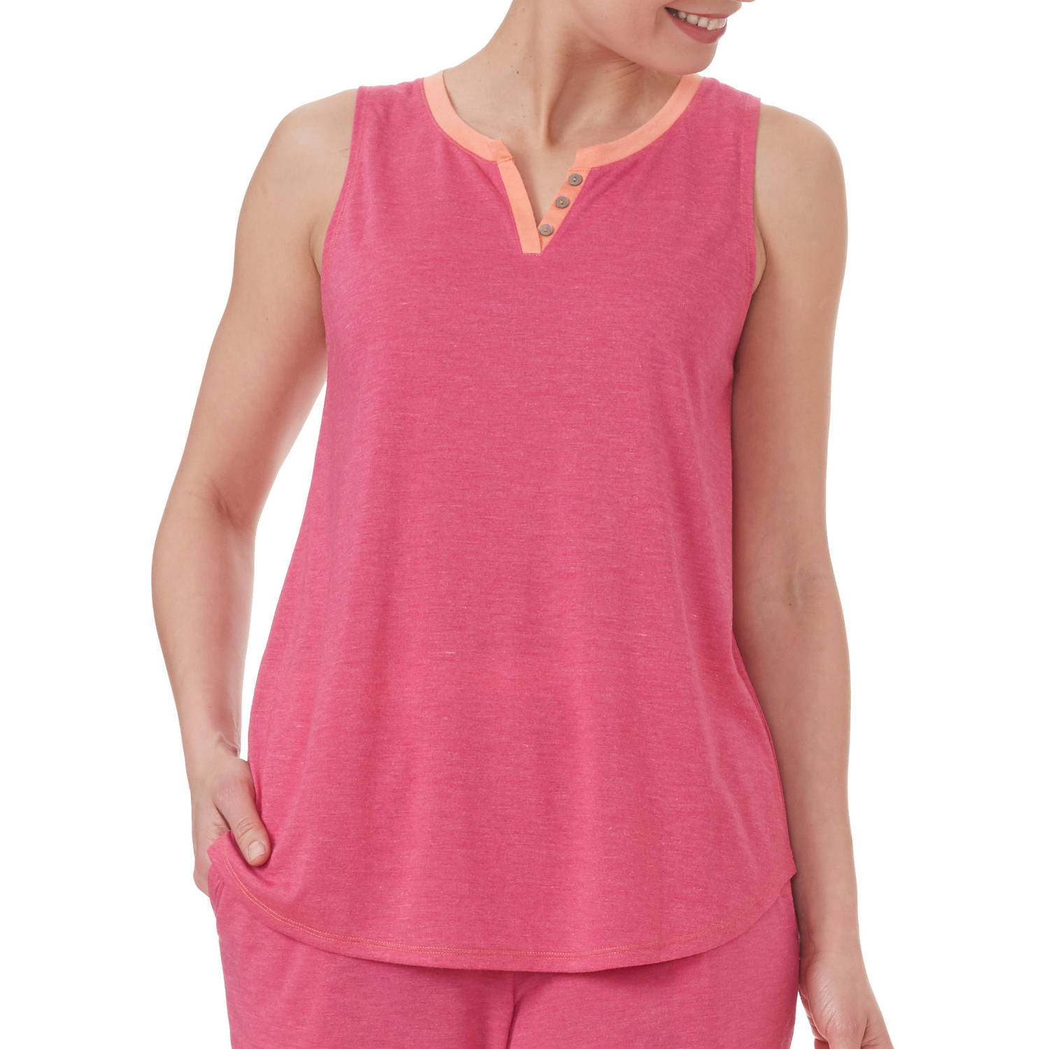 Secret Treasures Women's and Women's Plus Solid V-Neck Henley Sleep Tank