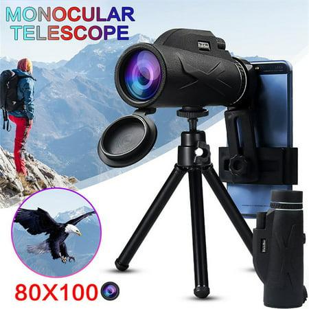 Day Night Vision 80X100 BAK4 Prism Zoom HD Lens Prism Monocular Telescope + Phone Clip + Tripod Set For Travel
